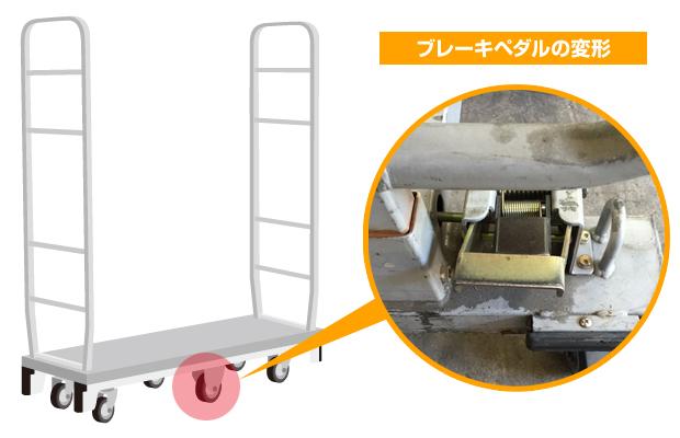 6輪台車ブレーキペダル変形