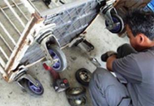 台車の車輪交換