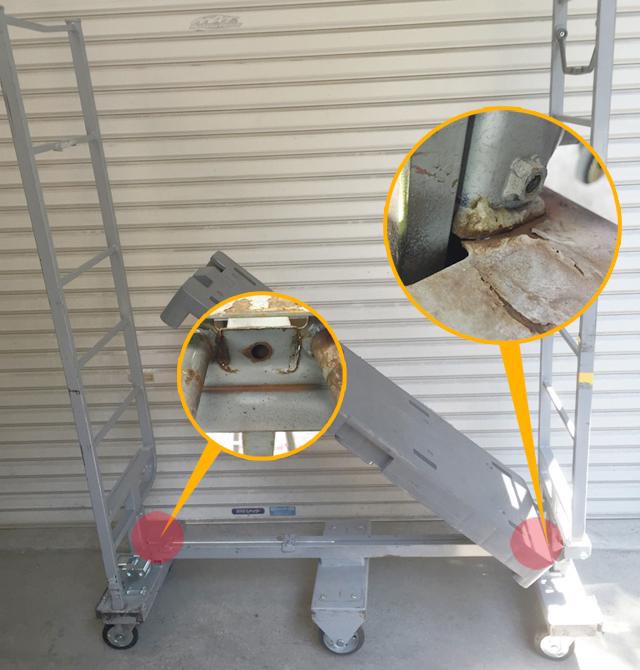 6輪台車の溶接クラックの修理