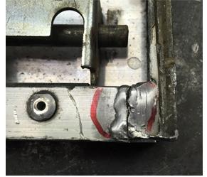 アルミベースの溶接修理